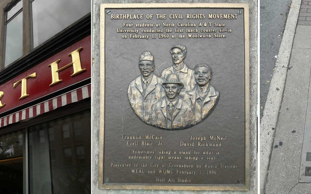 Monday's Monument: Woolworth's Sit-down Plaque & Footsteps, Greensboro, North Carolina